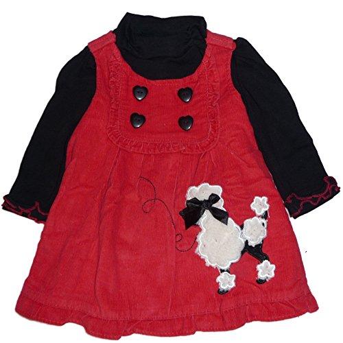 Kleider Pudel (Nannette Baby Mädchen Kord Kleid mit langarm Shirt mit entzückendem Pudel)