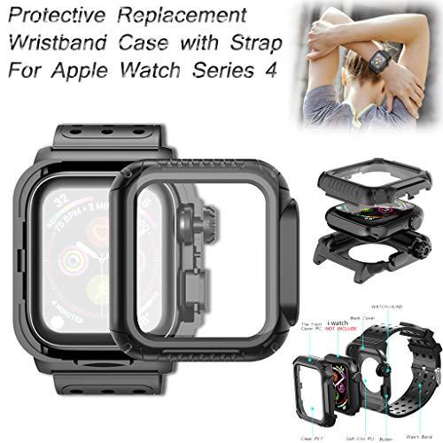 ❄TianranRT❄ Estuche Protector de Repuesto Con Correa dePara Apple Watch Series 4 44Mm(Negro)