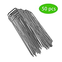 HELLOO HOME Garden Pegs Stakes Staples Securing Lawn U Shaped Nail Pins Ideal For Weed Control Membrane/Fabric/Artifical Grass/Matting/Netting Galvanised Ground Pegs 200mm Pack Of 50