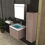 Waschbecken mit Unterschrank / Spiegelschrank / Braun Badmöbel / Badezimmer / Waschbeckenunterschrank / Waschtisch / Waschplatz