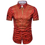 GreatestPAK Polo Hemd Herren Sommer Casual African Print Top Pullover T-Shirts Kurzarm Bluse,Rot,XL