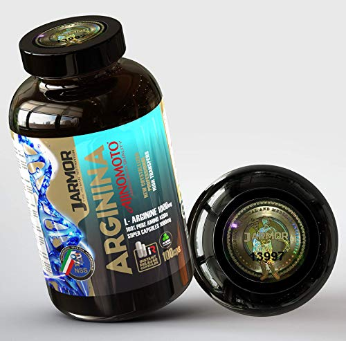 Integratore J.ARMOR Arginina Ajinomoto Purissima Top Quality 100 Capsule da 1000mg Vigore Massa muscolare Ossido nitrico Testosterone Booster Alto dosaggio dose da 3000 mg