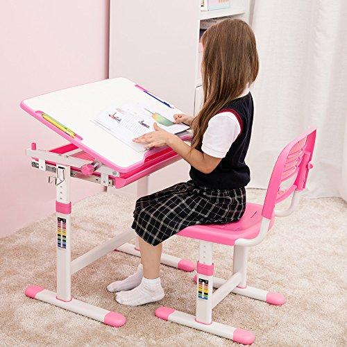 iKayaa Table de dessin et Chaise pour Enfants avec Support de Rouleau de Papier et le Tiroir Hauteur Réglable 0-40 ° Tiltable Activité des enfants Ensemble de Table Artistique Station de Travail (Rose)
