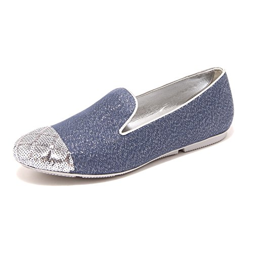 85837 mocassino HOGAN WRAP 144 TES + PUNTA PAILL scarpa donna loafer shoes women Argento/Blu