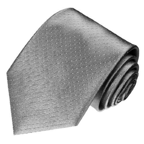 LORENZO CANA - Luxus Krawatte aus 100% Seide Silber Grau Silbergrau Weisse Punkte - 84494