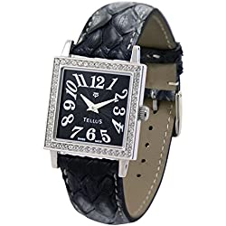 Tellus - Vintage - Luxury Women's watch with black dial, black strap in Genuine python, Swiss Made - T5067DI-106