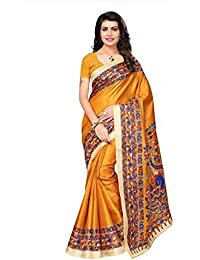 Mrinalika Fashion Women'S Art Silk Saree With Blouse ( Sarees New Collection 2018 Srjkh055_Yellow_Free Size )