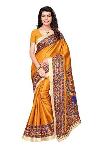Art Decor Sarees Women's Yellow Color Khadi Jute Silk Printed Saree With...