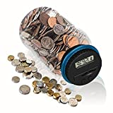HeQiao Money Jar Large Digital Coin Bank Savings Box Coin Counters for U.K. Coins (LCD Display, Automatic Counting)