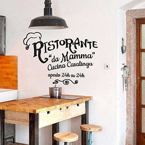 wall art 01418 Adesivo murale Aforisma - Ristorante da Mamma - Misure 60x43 cm - Nero - Decorazione Parete, Adesivi per Muro, Carta da Parati
