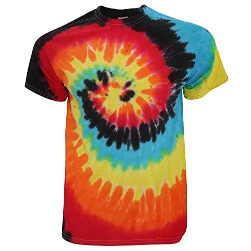 TDUK - Camiseta psicodélica modelo arcoíris de manga corta para hombre 100% Algodón- Verano Hippie (Pequeña (S)/Ilusión)