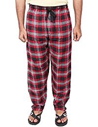 Twist Men's Red And Black And White Checked Cotton Pyjama Sleepwear Night Wear With Contrast & Free Shipping