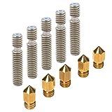 PChero 5er-Pack 0,4 mm Messing Extruder Düse Druckköpfe + 5er-Pack 26mm Teflon Throat für MK8 MakerBot RepRap 3D-Drucker