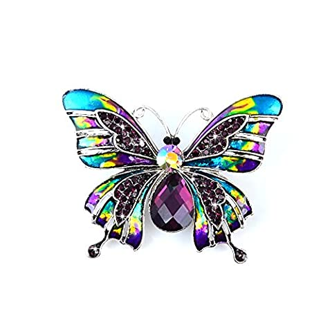 Mavis's Diary Women Girls Lady Retro Glittering Bling Gems Colourful Butterfly Brooch Pin (1 Piece) Gift for