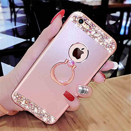 iPhone 6S Étui Rigide,iPhone 6 Coque Cristal Clair,JAWSEU Luxe Mode Placage Miroir Coque Housse Bling Brillant Sparkle Coque Mat Désign Ultra Slim Mince Crystal Miroir Hard Case Coquille de protection rose or/ring