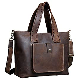 Fairkraft 16″ Genuine Leather Crossbody & Shoulder bag, Women Purse Tote Handbag Diaper Bag Evening Travel Bag