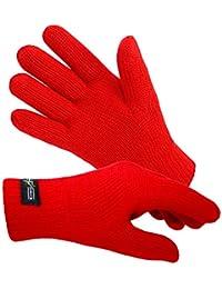EveryHead Damenenhandschuhe Thinsulate Fingerhandschuhe Strickhandschuhe Winterhandschuhe isoliert Fleecefutter für Frauen (EH-57757-W17-DA1) inkl Hutfibel