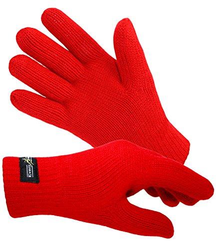 EveryHead Damenenhandschuhe Thinsulate Fingerhandschuhe Strickhandschuhe Winterhandschuhe isoliert Fleecefutter für Frauen (EH-57757-W17-DA1-8-M) in Rot, Größe M inkl Hutfibel