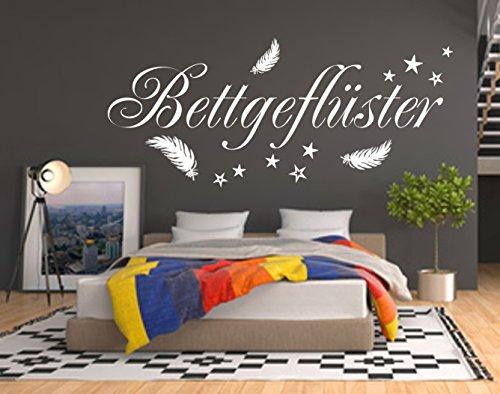 WANDTATTOO HM~AA217 Wandschnörkel ® BETTGEFLÜSTER Spruch mit Federn und 10 Sterne Größen/Farbauswahl