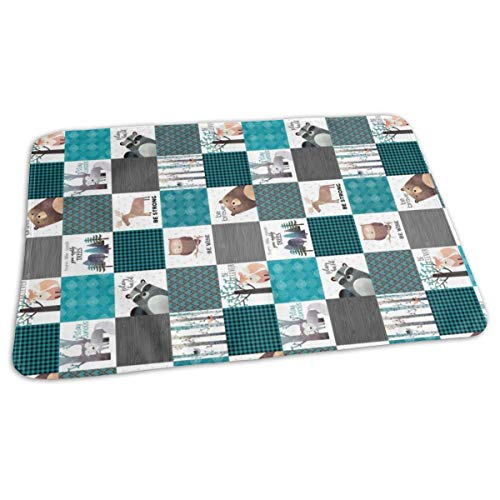 4.5 Blocks- Woodland Critters Patchwork Quilt ROTATED - Bear Moose Fox Raccoon Wolf, Teal, Black U0026 Gray Design GingerLous Baby Portable Reusable Changing Pad Mat 19.7X 27.5 inch -