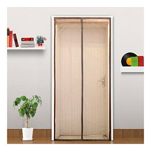 Fliegengitter Magnetvorhang für Türen Fliegenvorhang Insektenschutz Vorhang für Balkontür Wohnzimmer Schiebetür Terrassentür (90x220cm, braun) (Terrassentür Vorhänge)