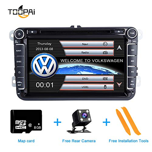 Autoradio Stereo, ZLTOOPAI für VW Seat Skoda Doppel-Din-Head-Einheit 8-Zoll-kapazitiver Multi-Touchscreen-Autoradio GPS-Radio mit kostenloser Kartenkarte Rückfahrkamera Removal Tools -