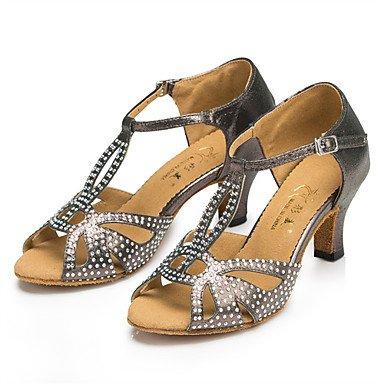 Ruhe @ Damen Tanzschuhe Latin/Jazz Schuhe/Salsa/Samba Satin Ferse schwarz/blau/grau Strass Blau