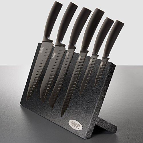 Beem Messerblock Barracuda Ninja-Cut , Messerset 7-teilig designt nach japanischem Vorbild mit antibakterieller Keramikversiegelung