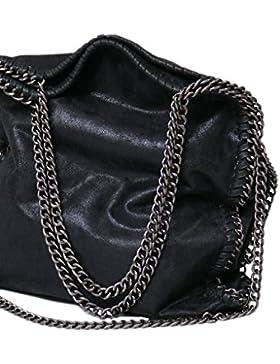 Designer Handtasche mit Kettenelementen by Sassyclassy   verschiedene Farben   große Damen Umhängetasche mit Reißverschluss...