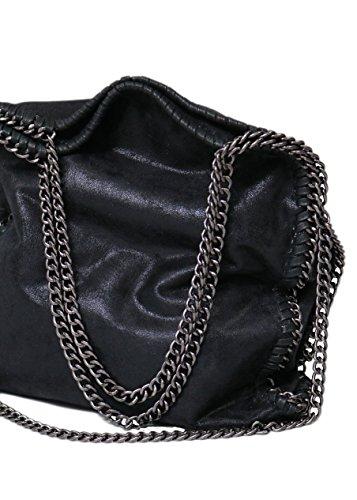 Designer Handtasche mit Kettenelementen by Sassyclassy | große Damen Umhänge-Tasche in Schwarz mit...