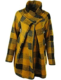 Gracious Girl Ladies Womens Italian Lagenlook Quirky Layer Wool Button Collared Long Sleeve Cocoon Coat Jacket Poncho Cape Oversize Coatigan
