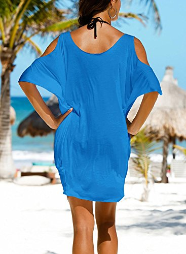L-Peach Donna Camicia Spalla Nuda Copricostumi Parei per Costume da Bagno per Spiaggia Bikini Cover Up Blu
