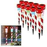 Solalite 10 x Christmas Xmas Snowflake Plastic Solar Post Lights Rechargeable Garden Lamps Tube Patio (Colour Changing LED)