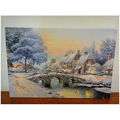 XYXY Home Decor pittura con il giorno di Natale LED luce illuminato illuminato stampa tela pittura di paesaggio decorazione . 40*50