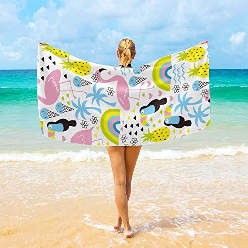 Ye Hua Tropisches Flamingo-und Tukan-Muster-Superfeinfaser-Japanisches Schönheits-Haut-Bad-Waschlappen / -Tuch bunt -