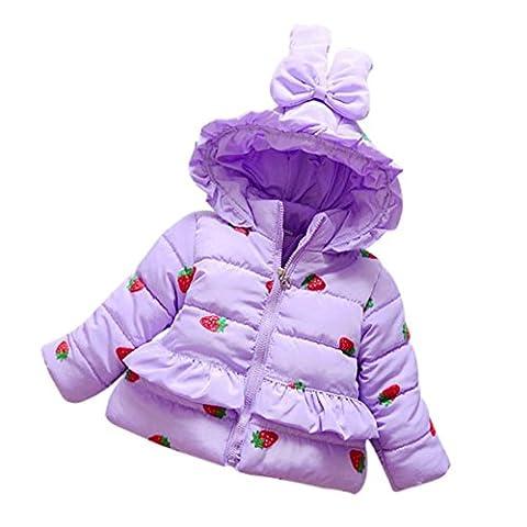 Longra Baby-Mädchen Winter Jacke Erdbeere Bedruckt Wintermantel mit Kapuze Jacke (0-3Jahre) (100CM 24Monate, Purple)