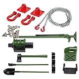 MagiDeal RC Crawler 1/10 Cilindro de Combustible Kit de Herramientas de Gato con Cadena de Gancho de Remolque para Axial SCX10 CC01 - Rojo y Verde
