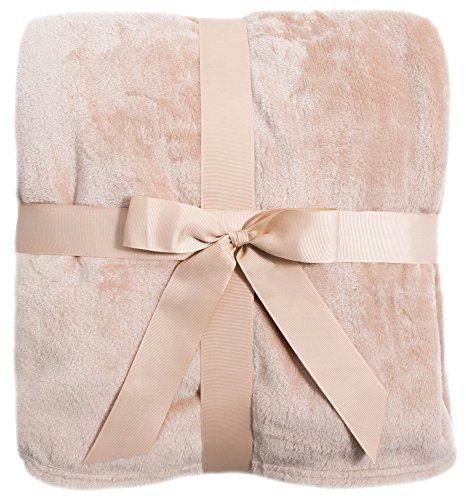 Livingston Fleece gefüttert Tartan Plaid Flanell/Farbe Winter Überwurf Decke One Size Camel -