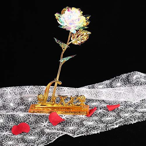 eb747f2500e54 24K Gold Flower with Gift Box, Eternity Rose Romantic Rainbow LED Luminous  Rose Flower Preserved Flower Lover's Birthday Gift