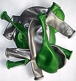 Sachsen Versand 50 grün-silber-metallic metallic-Luft-Ballons glänzend-metall-Feier-Deco-Geburtstag-Fete-Helium-geeignet EU Ware