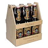 Bierflaschenträger aus Holz mit Gravur Männerhandtasche mit Namen für 6 Flaschen 0,5L & 0,33L Tolles Geburtstagsgeschenk für Männer und Frauen