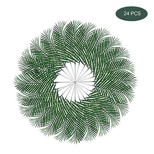 inherited Faux Tropical Palm Blätter,Tropische Palmblätter Simulation Hibiskus Hawaiian Blumen für Dekorationen für hawaiische Party Jungle Beach Thema Tischdekoration (Eisen verlässt, 24 PCS) (Karibik Thema Party Dekorationen)
