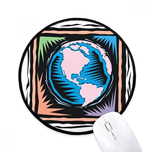 DIYthinker Mysterious Blau Earth Mexican Element Stich Runde Griffige Mousepads Schwarz Titched Kanten Spiel Büro-Geschenk -