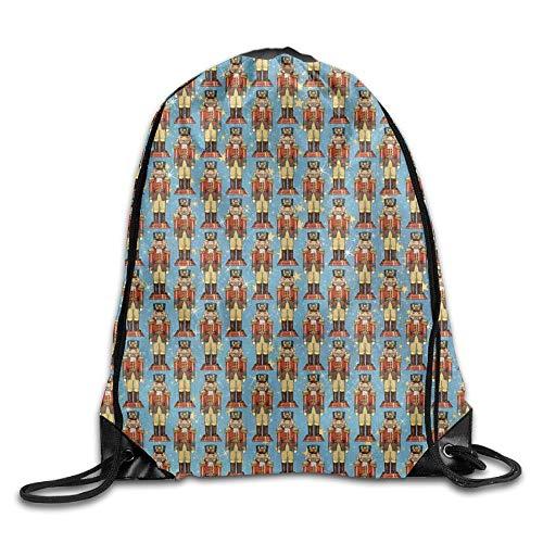 Nutcracker Printed Cute Drawstring Backpack Teens Large Capacity Shoulder Bag Tote Gym 16.9