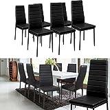 IDMarket-Lot-de-6-chaises-ROMANE-noires-pour-salle--manger