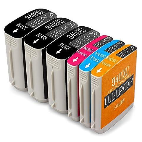 WELPOP Remplacement pour 940XL Cartouches d'Encre, 1 Set+2 Noir, Grande Capacité Compatible avec Officejet Pro 8000 A809a 8500 A909a 8500A A910a Imprimante
