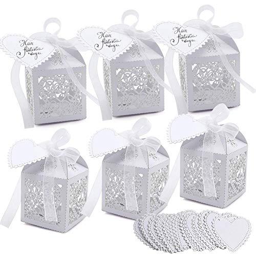 VGOODALL 100 Stück Hochzeit Gastgeschenke Süßigkeiten Kasten Gastgeschenke Schachtel Hochzeit Taufe Geschenkbox Kartonage Tischdeko Hochzeit Dekoration (Weiß)