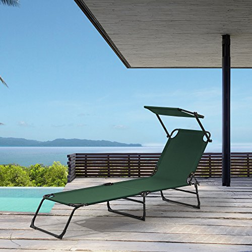 [casa.pro] Sonnenliege klappbar mit Dach dunkel-grün