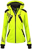 Rock Creek Damen Softshell Jacke Outdoorjacke Windbreaker Übergangs Jacke [D-390 Neon Yellow XL]