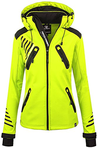 Rock Creek Damen Softshell Jacke Outdoorjacke Windbreaker Übergangs Jacke [D-390 Neon Yellow XXL]
